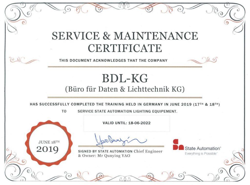 Zertifikat State Automation für bdL KG