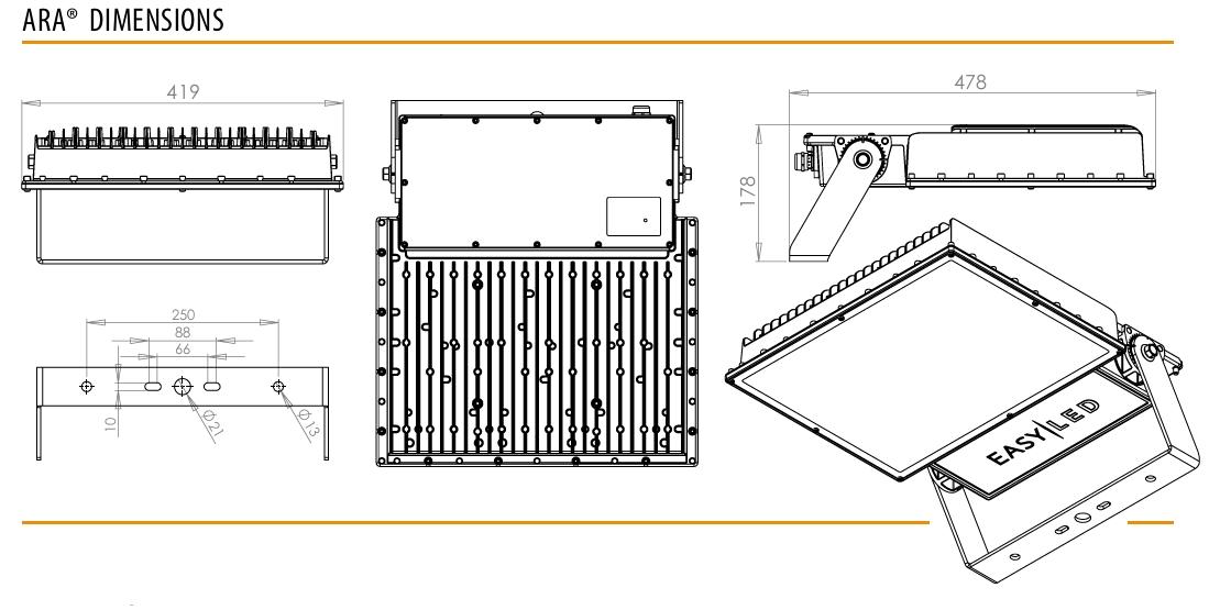 ARA LED-Flutlichtsystem Abmessungen